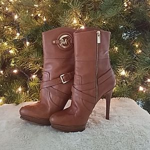 Michael Kors Leather Heeled Boot with Gold Buckle